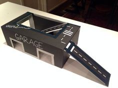 I made this garage and car track out of a shoe box. Really simple! #cardboard #diy #kids #car