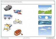 Ficha de transportes en su medio para primaria Tracing Worksheets, Preschool Worksheets, Kindergarten Activities, Free Preschool, Ride On Toys, Paper Crafts For Kids, Classroom Organization, Speech Therapy, Animals And Pets