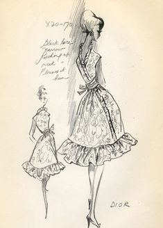 Vintage sketch by Soicher Marin for Christian Dior (spotted on gilt) by TheSushiFox