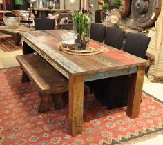 "107"" Vintage dining table multicolor WAREHOUSE SPECIAL made w solid reclaim wood"
