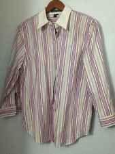 Ralph Lauren Womens 3/4 Sleeve Striped Button down Shirt L Large NWOT