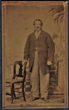 CDV Photo Man IDd H Haines Plaid Pants Bauer photog Columbus Ohio Civil War Era 1860s | eBay
