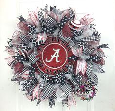 Deco Mesh University of Alabama Wreath -Roll Tide Wreath -Bama Wreath -Alabama Decor -Gameday Decor -College Decor