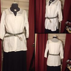 Cute White Top This white tunic has sheer, lacy embellishments at the shoulders. Sleeves are 3/4 length and notched on the cuff. Looks great belted or unbelted. Ellen Tracy Tops
