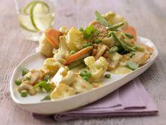 Indisches Gemüse-Curry: 100% vegetarisch & tierisch lecker. Mit 1 Portion des Gemüse-Curry nehmen Sie die Hälfte Tagesbedarfs an Ballaststoffen zu sich.