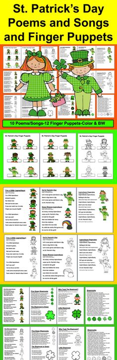 $ St. Patrick's Day Songs and Poems for Shared Reading and Fluency for St. Patrick's Day + 12 St. Patrick's Day Finger Puppets 19 page file – All Illustrated with St. Patrick's Day themed Graphics-Full Color and Black and White for students to color. 10 St. Patrick's Day Songs/Poems sing to popular children's songs. 12 St. Patrick's Day Finger Puppets – color and black and white.  Sing to familiar tunes, or chant.  Use some or all year after year for St. Patrick's Day.