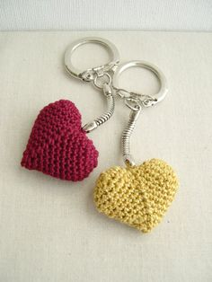 Red Heart keychain  Golden Keychain  Heart by MaryKCreation
