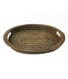 Southern Living Nito Woven Oval Serving Tray with Handles