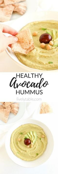 Easy, creamy, and healthy avocado hummus with only 6 ingredients is a delicious snack that can be made in minutes! (vegan, gluten-free) | via livelytable.com