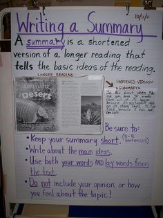 Summarizing Anchor Chart: Writing is an art - connect it to all other subjects. Summarizing Anchor Chart, Summary Anchor Chart, Writing Anchor Charts, 4th Grade Writing, 4th Grade Reading, Teaching Writing, Reciprocal Teaching, Teaching Ideas, Teaching Literature