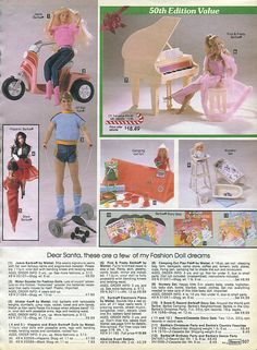 I had the pink and pretty barbie and the baby doll. Barbie Doll Set, Barbie Toys, Old School Toys, Christmas Catalogs, Vintage Barbie, Vintage Ads, Barbie Accessories, Monster High Dolls, My Childhood Memories