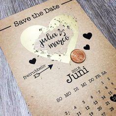 Diese Save The Date Karte bliebt mit Sicherheit in Erinnerung! 50 Karten B6 - 125 x 176 mm auf Kraftpapier Herzfläche zum freirubbeln.