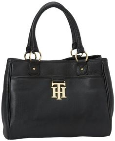 Tommy Hilfiger Monogrammed Pebble Shopper Tote - Black
