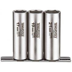 "Sada dlhých hlavíc 1/2"", 17, 19, 21 mm, nerez, Teng Tools 21st, Stainless Steel, Tools, Instruments"