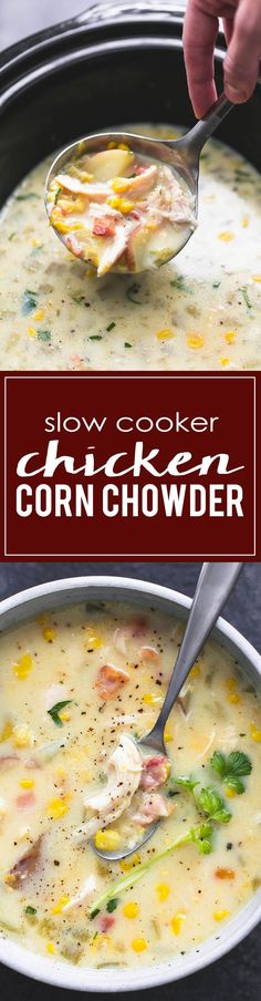 cool Creamy slow cooker chicken corn chowder is the perfect set it and forget it croc...