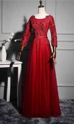 Sexy 3/4 Long Sleeves Beaded Lace Backless Formal Evening Gowns Real Images Floor Length Red Tulle Sequin Sheer Prom Party Dresses