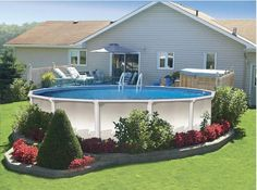 Above Ground Pool Landscaping Ideas white landscaping around above ground pool simple landscaping Find This Pin And More On Spring Is Coming Spring Is Coming So Clean And Neat Looking Above Ground Pools Decks Idea