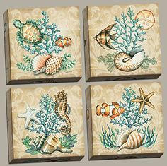 Sea Life Still Life Collages; Shells, Seahorses, Reef Fish, Starfishes & Coral; Four 12x12in Stretched Canvases-ready to Hang! PosterArtNow http://www.amazon.com/dp/B00SNO3MO6/ref=cm_sw_r_pi_dp_KQZIwb0GD4131