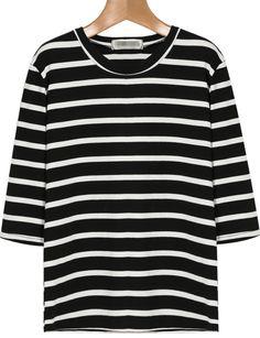 Black White Striped Long Sleeve Loose T-Shirt 13.67