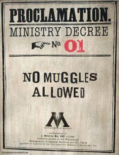 No Muggles Allowed. No Muggles Allowed Harry Potter Poster, Harry Potter Motto Party, Harry Potter Classroom, Theme Harry Potter, Harry Potter Bedroom, Harry Potter Halloween, Harry Potter Tumblr, Harry Potter Pictures, Harry Potter Birthday