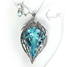 Necklace EDYCTRIS by Lunarien UK. Silver and sea blue topaz.