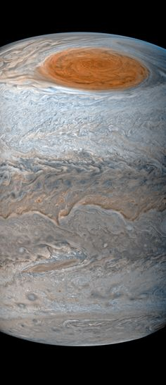 Jupiter's Great Red Spot photographed by the Juno probe, July 10, 2017.