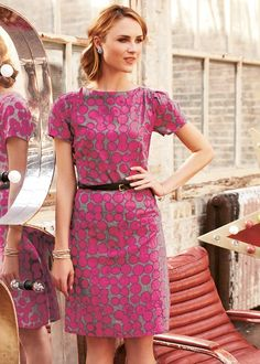 c62461a817a Classic tailored pencil woven dress with hand screen printed spot pattern  in rose pink and dappled grey from People Tree. Pin tucked shoulders for a  puff ...