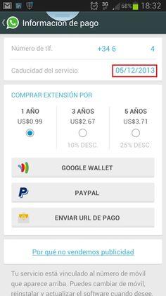Info de pago de WhatsApp