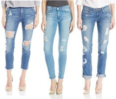 Here are some style ideas from the street on how to keep your style while rocking the of-the-moment, raw + distressed jeans. Tattered Jeans, Denim Trends, Distressed Denim, Your Style, Capri Pants, How To Wear, Diy, Fashion, Build Your Own