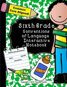 Interactive notebooks are a great way for your students to experience hand-on language skills and activities they will actually remember. This notebook (when completed) will serve as an excellent end-of-the-year study guide for the 6th grade standardized test. ALL language skills in this notebook are aligned to the 6th Common Core Conventions of Language standards. $ #sixthgrade #ELA #languagearts #interactivenotebook