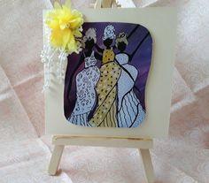 Vintage look Handmade Card Original Painting African Theme Card Afican Ladies Yellow And White Dress, Yellow Lace, African Theme, Love Sewing, Lace Flowers, African Women, Card Sizes, Vintage Looks, Original Paintings