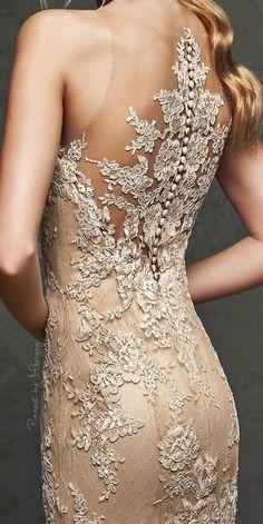 neutral lace back dress