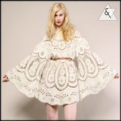 VINTAGE CROCHET LACE TUNIC DRESS Vtg 60s 70s Scallop Hippy Sheer Cut Out Wedding