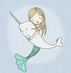 Mermaid Narwhal Illustration Print Instant Download by mikaart