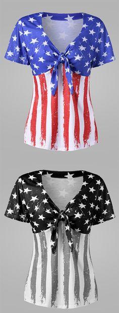 Plus Size Empire Waist American Flag T-Shirt