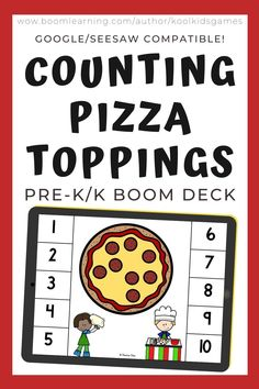 Kids will count the number of pizza toppings from 1-10. Use these digital task cards as a fun math center in preschool and kindergarten. This resource is compatible with google classroom and seesaw and perfect for distance or homeschooling.  #digital #boom #task cards #math #count #number #pre-k #preschool #kindergarten #food #pizza #cafe #restaurant #meal #eat #lunch #dinner #snack #pretendplay Interactive Learning, Learning Games, Eat Lunch, Seesaw, Number Sense, Preschool Kindergarten, Google Classroom, Cafe Restaurant, Business For Kids