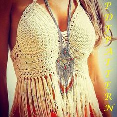 Crochet Crop Top PATTERN Designer Boho Halter Fringed Crop Top Pattern - Boho…