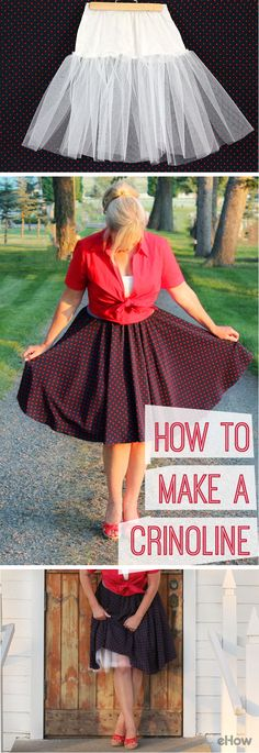 Vintage clothing, especially the rockabilly style, are in and that means crinolines are once again emerging as a must-have item in women's wardrobes. Perfect for more than just weddings and special occasions! Make your own -- in any color imaginable -- by using an old slip and a few yards of netting.  Read more : http://www.ehow.com/how_4811196_make-a-crinoline.html?utm_source=pint