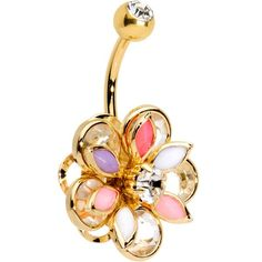Clear Colorful Gem Gold Anodized Soft Pastel Flower Belly Ring