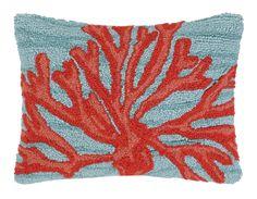Coral Hook Wool Boudoir/Breakfast Pillow
