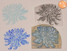 Chrysanthemum hand carved rubber stamp | Lotte Huxley Flickr - Photo Sharing! Make Your Own Stamp, Japanese Wedding, Stamp Carving, Mark Making, Chrysanthemum, Clay Ideas, Altered Books, Printmaking, Hand Carved