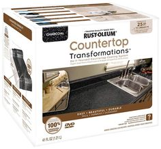 Rustoleum has made it easy to transform the look of your kitchen countertops using their Countertop Transformations Kit. It's easy to apply and cheap to boot!