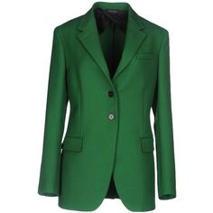 Jil Sander Blazer (60.335 RUB) ❤ liked on Polyvore featuring outerwear, jackets, blazers, green, jil sander jacket, wool collar jacket, two button blazer, single breasted jacket and blazer jacket