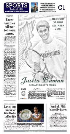 Methacton's Justin Baman was named the All Area Boys Tennis Player of the Year. http://www.pottsmerc.com/article/20130706/SPORTS01/130709564/methacton-s-baman-is-boys-tennis-player-of-the-year