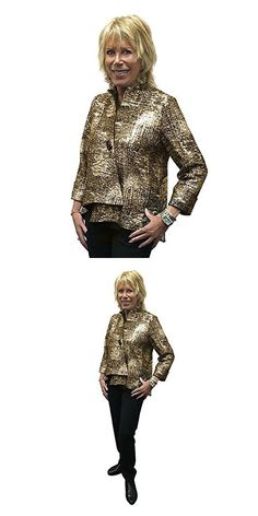 IC Collection Designer Jacket in Gold and Black - (Large Amazing Women, Skiing, Punk, Casual Jackets, Womens Fashion, Gold, Magazine, Collection, Black