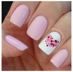 Nail art is a very popular trend these days and every woman you meet seems to have beautiful nails. It used to be that women would just go get a manicure or pedicure to get their nails trimmed and shaped with just a few coats of plain nail polish. Dot Nail Designs, Nails Design, Pedicure Designs, Heart Nail Designs, Nail Designs With Hearts, Easy Nail Art Designs, Easy Diy Nail Art, Simple Designs, Valentine Nail Art