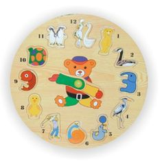 Shop for Puzzled Small Animals Wooden Clock Puzzle. Get free delivery On EVERYTHING* Overstock - Your Online Toys & Hobbies Outlet Store! Clock Worksheets, Clock Printable, Teaching Clock, Clock For Kids, Toy 2, Color Crafts, Wooden Clock, Sports Toys, Toddler Toys