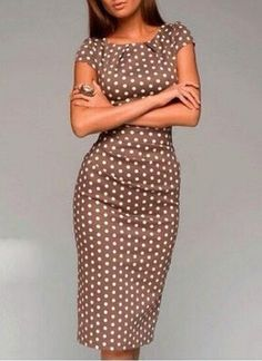 Polka Dot Print Stylish Scoop Neck Short Sleeve Dress | www.sammydress.com