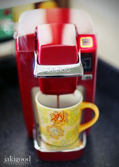 mini keurig in cherry red - adorable for an office desk!