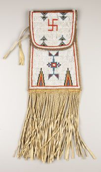American Indian Art:Beadwork, A CHEYENNE BEADED LEATHER DISPATCH CASE. . c. 1910. ...